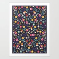 flowers Art Prints featuring Ditsy Flowers by Poppy & Red