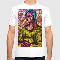 Mona Lisa Mens Fitted Tee White SMALL