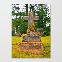 Canvas Print featuring Small cemetery cross by Vorona Photography