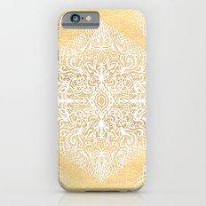 White Gouache Doodle on Gold Paint iPhone 6 Slim Case