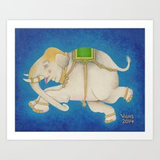 Happy Dreamtime Elephant Art Print
