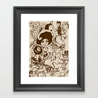 American Traditional Tattoo Collage (Brown) Framed Art Print