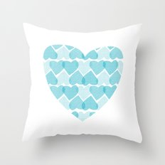 Blue, blue heart Throw Pillow
