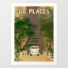 Go Places Redwoods and Camper Collage Poster Print  Art Print