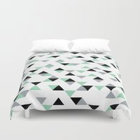 Triangles Mint Grey Duvet Cover