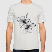 Aqua Floral Mens Fitted Tee Silver SMALL