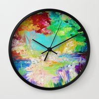 IN DREAMS - Gorgeous Bold Colors, Abstract Acrylic Idyllic Forest Landscape Secret Garden Painting Wall Clock