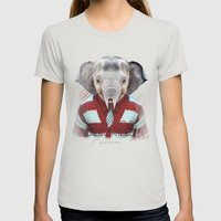 Elephant Womens Fitted Tee Silver SMALL