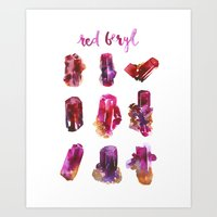 Red Beryl Specimens Art Print