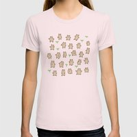 Tiny Bears Pattern Womens Fitted Tee Light Pink SMALL
