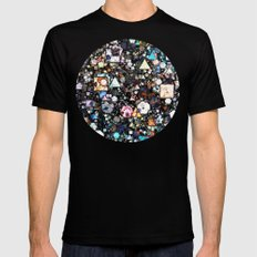 Colorful Layers of Geometric Shapes SMALL Black Mens Fitted Tee