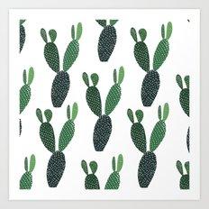 Green cactus - Illustration Cacti pattern Art Print