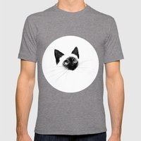 Curious Siamese Kitten Mens Fitted Tee Tri-Grey SMALL