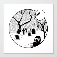 Halloween Graveyard Canvas Print