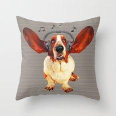 Basset Hound In Earphone… Throw Pillow
