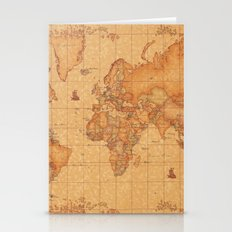 World Map LeaTher Stationery Cards