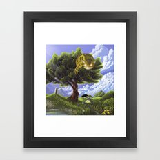 Totoro and Catbus Framed Art Print