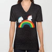 Unicorn on rainbow slide Unisex V-Neck