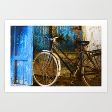 Blue Bicycle Art Print