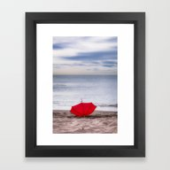 Red Umbrella At The Beac… Framed Art Print