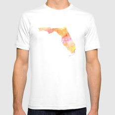 Typographic Florida - orange watercolor Mens Fitted Tee SMALL White