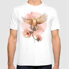 Bird&flowers White SMALL Mens Fitted Tee