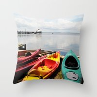 Bay Landscape With Canoe… Throw Pillow
