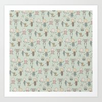 Children Playing-on Mint Art Print