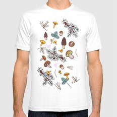 dark wild forest mushrooms Mens Fitted Tee White SMALL