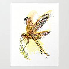 Gold Dragonfly Art Print