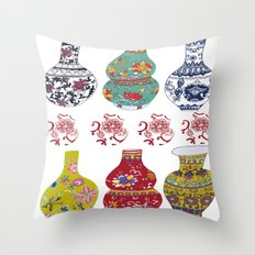 Chinese Pots Throw Pillow