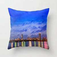 Harvard Bridge, colorful reflection Throw Pillow