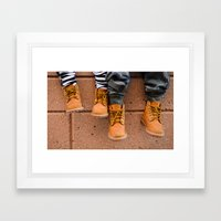 Boots, Two Boys Framed Art Print