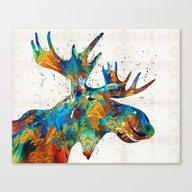 Colorful Moose Art - Con… Canvas Print