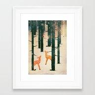 Winter Deer Framed Art Print