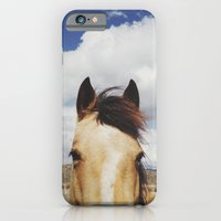 horse iPhone & iPod Cases featuring Cloudy Horse Head by Kevin Russ