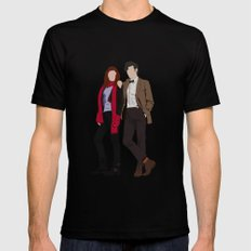 Matt Smith as Dr Who and Karen Gillan as Amy Pond Mens Fitted Tee Black SMALL