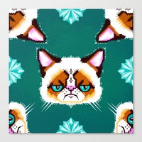 Grumpy Cat Geometric Pattern Canvas Print