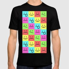Smiley Chess Board SMALL Mens Fitted Tee Black