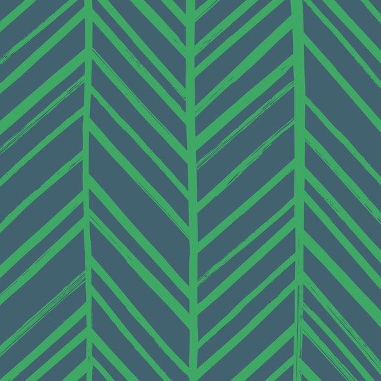 Painted Herringbone - in Emerald Canvas Print