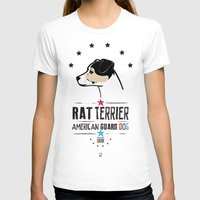 Rat Terrier: American Guard Dog Womens Fitted Tee White SMALL