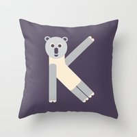 Letter K // Animal Alpha… Throw Pillow