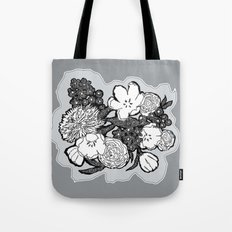 Placed Floral:  Cool Gray Tote Bag