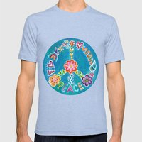 Peace Mens Fitted Tee Tri-Blue SMALL