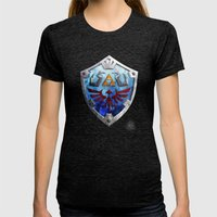 The Hylian Shield Womens Fitted Tee Tri-Black SMALL