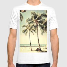 Retro Vintage Palm Tree with Hawaii Summer Sea Beach SMALL Mens Fitted Tee White