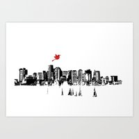 Boston Skyline Silhouette Art Print