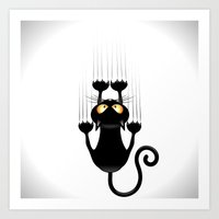 Black Cat Cartoon Scratching Wall Art Print