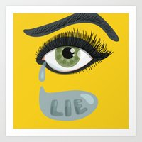 Green Lying Eye With Tears Art Print