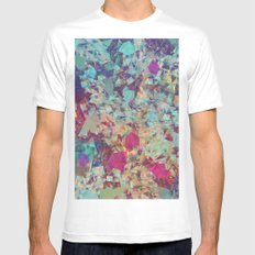 Spaced Geometric White Mens Fitted Tee SMALL